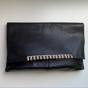 Real leather black clutch